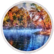 Round Beach Towel featuring the photograph Fall On The Lake by Debra and Dave Vanderlaan