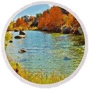 Fall On The Medina River Round Beach Towel