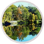 Round Beach Towel featuring the photograph Fall On The Ottauquechee River by Joseph Hendrix