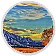 Round Beach Towel featuring the photograph Fall Over The Flatirons by Scott Mahon