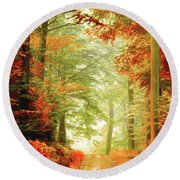 Fall Painting Round Beach Towel