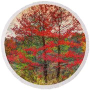 Fall Painting Round Beach Towel by Skip Tribby
