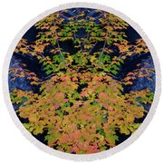 Fall Painting Twins Round Beach Towel