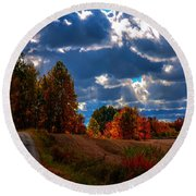 Fall Path Round Beach Towel