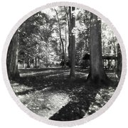 Round Beach Towel featuring the photograph Fall Picnic Bw Painted by Judy Wolinsky