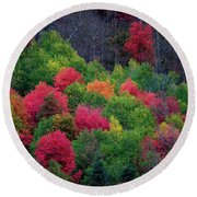 Fall Poppers Round Beach Towel