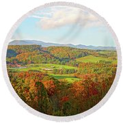 Fall Porch View Round Beach Towel
