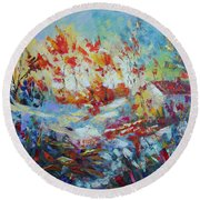 Fall Provence Round Beach Towel