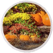 Round Beach Towel featuring the photograph Fall Pumpkins by Carolyn Marshall