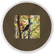 Fall Red-tailed Hawk Round Beach Towel