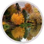 Fall Reflection On Calm River Round Beach Towel