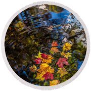 Fall Reflection - Pisgah National Forest Round Beach Towel