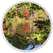 Fall Reflections Round Beach Towel by Nancy Landry
