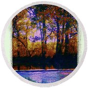 Fall Riverbank Round Beach Towel by Shirley Moravec