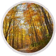 Fall Road Round Beach Towel