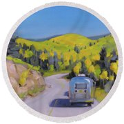 Fall Road Trip Round Beach Towel