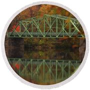 Fall Rocks Village Bridge Round Beach Towel