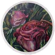 Round Beach Towel featuring the painting Fall Roses by Nadine Dennis
