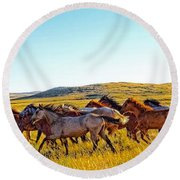 Fall Run In Patina Round Beach Towel