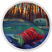 Fall Salmon Fishing Round Beach Towel