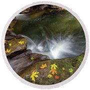Fall Season At Rock Creek Round Beach Towel