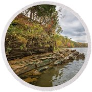 Fall Shoreline Round Beach Towel