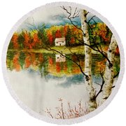 Round Beach Towel featuring the painting Fall Splendour by Sher Nasser