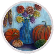 Round Beach Towel featuring the painting Autumn Still Life by Lou Ann Bagnall