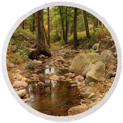 Fall Stream And Rocks Round Beach Towel by Roena King