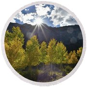 Fall Sun Setting Over Mt. Charleston Round Beach Towel