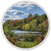 Fall Time On The Lake Round Beach Towel