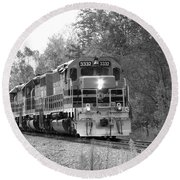 Round Beach Towel featuring the photograph Fall Train In Black And White by Rick Morgan