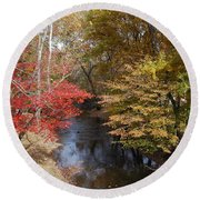Round Beach Towel featuring the photograph Fall Transition by Eric Liller