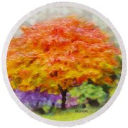 Fall Tree Round Beach Towel