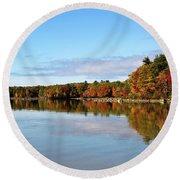Fall Tree Reflections Lake Sabago Maine Round Beach Towel