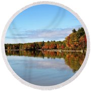 Fall Tree Reflections Lake Sabago Maine Round Beach Towel