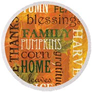 Fall Typography 1 Round Beach Towel by Debbie DeWitt