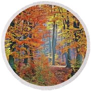 Fall Woods Round Beach Towel