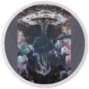 Round Beach Towel featuring the painting Fallen 2 by Cheryl Pettigrew