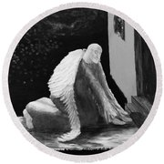 Fallen Angel Noir  Round Beach Towel