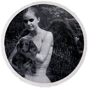 Round Beach Towel featuring the photograph Fallen Angel by Rebecca Margraf