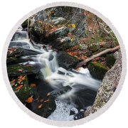 Fallen In Danforth Falls Round Beach Towel