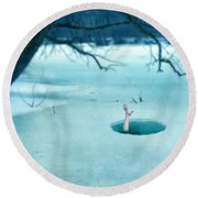 Fallen Through The Ice Round Beach Towel