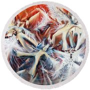 Falling Angels Round Beach Towel
