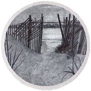 Falling Fence Round Beach Towel