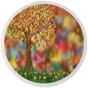 Round Beach Towel featuring the painting Falling Leaves by Kevin Caudill