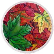 Falling Leaves I Painting Round Beach Towel