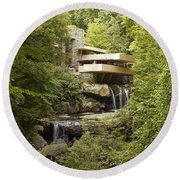Falling Water Round Beach Towel by Carol Highsmith