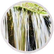 Falling Water Mirror Round Beach Towel