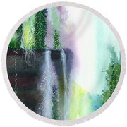 Falling Waters 1 Round Beach Towel